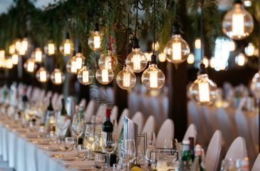 wedding light decorations over top table