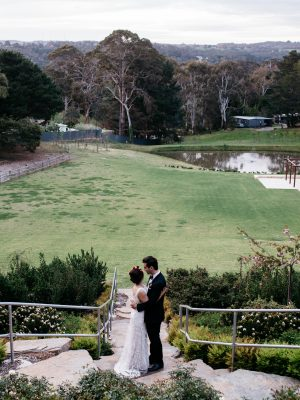 Bride & Groom at their Adelaide Hills Wedding with background view