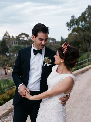 groom holding bride at their adelaide hills wedding